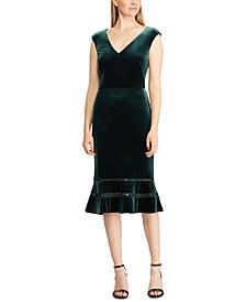 Inset-Lace Velvet Dress