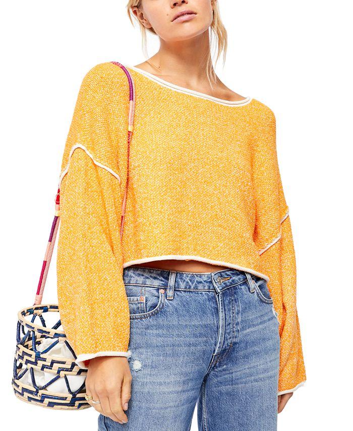 Free People - Bardot Striped Oversized Sweater