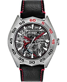 Eco-Drive Men's Spider-Man Black Leather Strap Watch 44mm - Limited Edition