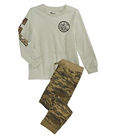 Little Boys T-Rex T-Shirt & Stretch Twill Camouflage Chino Pants, Created For Macy's