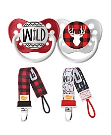 Lumber Collection Wild and Buffalo Plaid Deer Pacifiers with Camp Day Buffalo Plaid Pacifier Clip Bundle