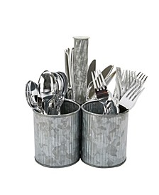 Line Galvanized 3 Section Utensil Caddy