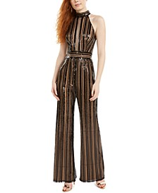 Sequinned-Striped Jumpsuit