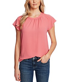 Flutter-Sleeve Gathered-Neck Top