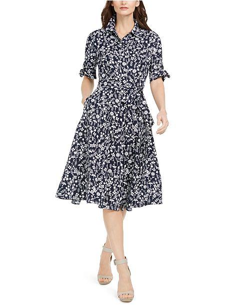 Calvin Klein Floral-Print Midi Shirtdress, Created for Macy's