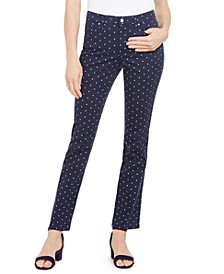 Petite Polka-Dot Printed Lexington Straight-Leg Jeans, Created for Macy's