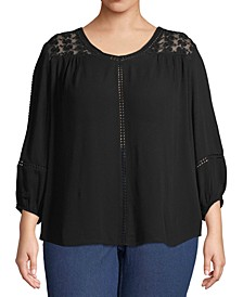 Plus Size Lace-Shoulder Top