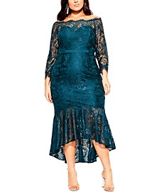 Trendy Plus Size Off-The-Shoulder Lace Gown