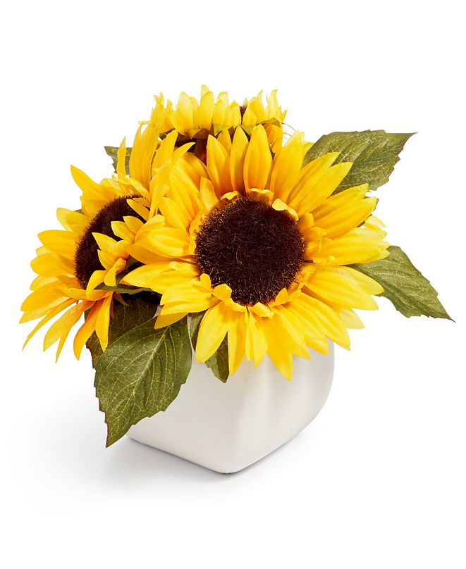 Martha Stewart Collection CLOSEOUT! Americana Artificial Sunflower Ceramic Arrangement, Created for Macy's