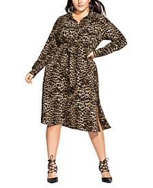 Trendy Plus Size Leopard-Print Shirtdress