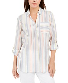 Vertical-Stripe Popover Top, Created for Macy's