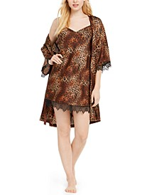 INC Leopard-Print Lace-Trim Chemise Nightgown & Robe, Created For Macy's
