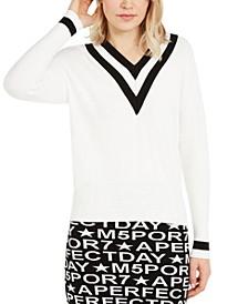 Contrast-Trim V-Neck Sweater