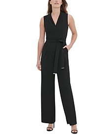 V-Neck Tie-Belt Sleeveless Jumpsuit