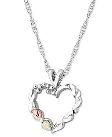 """Heart Pendant 18"""" Necklace in Sterling Silver with 12k Rose and Green Gold"""