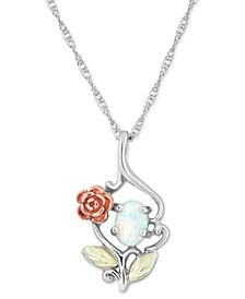 """White Opal (7x5mm) Rose Pendant 18"""" Necklace in Sterling Silver with 12k Rose and Green Gold"""
