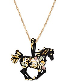 "Black Powder Coated Horse Pendant 18"" Necklace with 12K Rose and Green Gold"