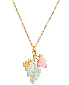 "Grape and Leaf Pendant 18"" Necklace in 10K Yellow Gold with 12K Rose and Green Gold"