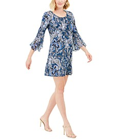 Petite Bell-Sleeve Paisley Dress