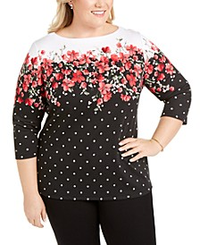Plus Size Emily Embellished Boat-Neck Top, Created For Macy's