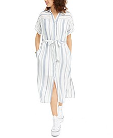 Juniors' Striped Button-Up Dress