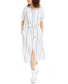 Crystal Doll Juniors' Striped Button-Up Dress