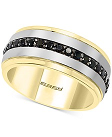 EFFY® Men's Black Spinel Band in Sterling Silver & 14k Gold