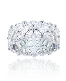 Multi Cut Cubic Zirconia Eternity Band in Rhodium Plated Sterling Silver