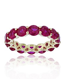 Red Cubic Zirconia Eternity Band in 14k Yellow Gold Plated Plated Sterling Silver