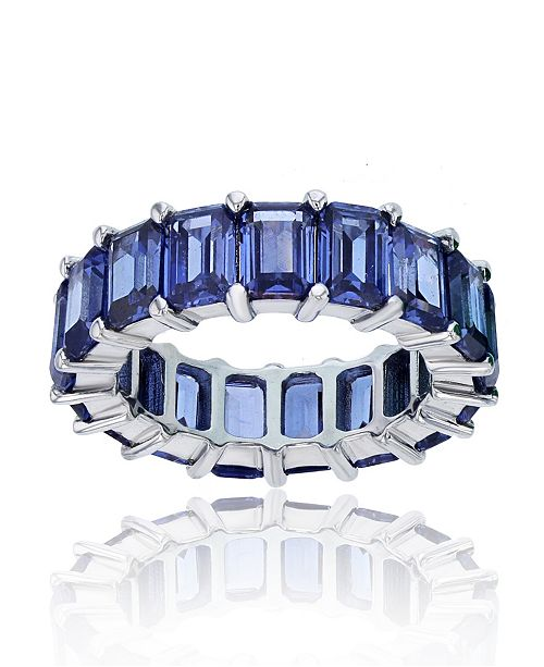 Macy's Purple Cubic Zirconia Eternity Band in Rhodium Plated Sterling Silver