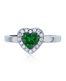 Green Heart Cubic Zirconia Halo Ring in Rhodium Plated Sterling Silver