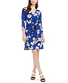 Floral-Print Faux-Wrap Dress, Created for Macy's