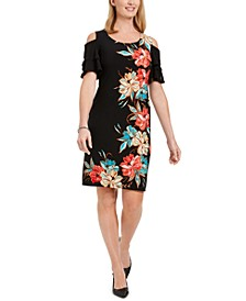 Printed Cold-Shoulder Ruffled-Sleeve Dress, Created For Macy's