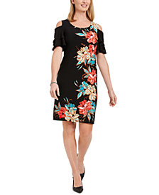 JM Collection Printed Cold-Shoulder Ruffled-Sleeve Dress, Created for Macy's