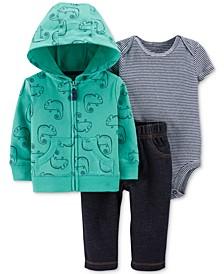Baby Boys 3-Pc. Cotton Chameleon-Print Hoodie, Striped Bodysuit & Pants Set