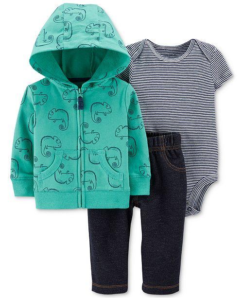 Carter's Baby Boys 3-Pc. Cotton Chameleon-Print Hoodie, Striped Bodysuit & Pants Set