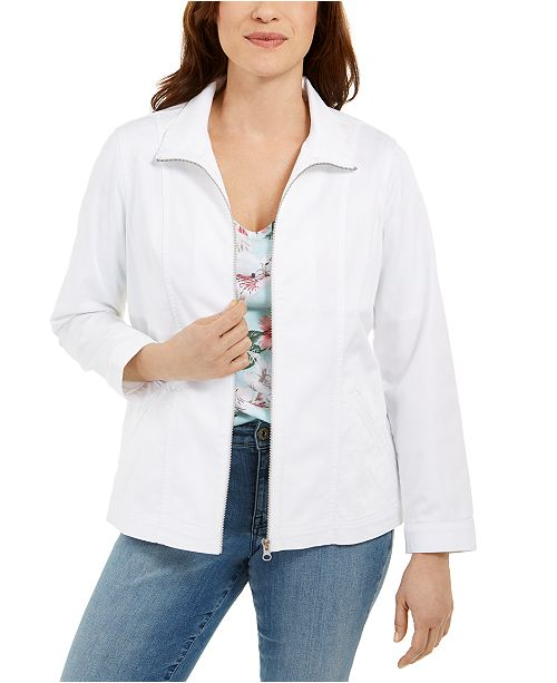 Karen Scott Petite Zippered Jacket, Created for Macy's