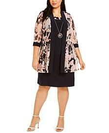 Plus Size Floral Mesh Jacket & Dress