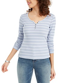 Juniors' Striped Ribbed Henley