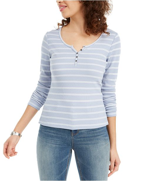 Hippie Rose Juniors' Striped Ribbed Henley