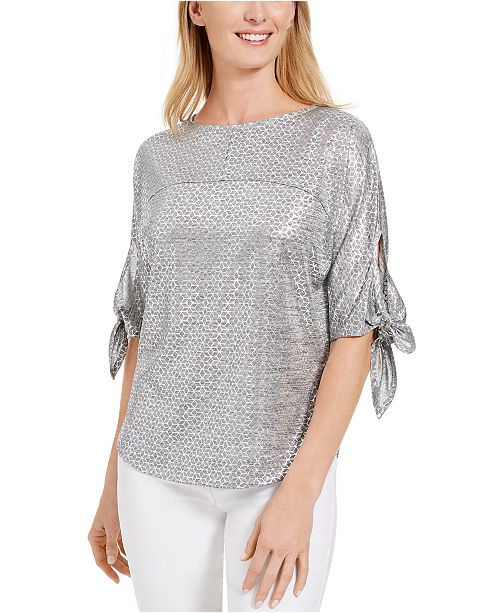 JM Collection Tie-Sleeve Foil Top, Created For Macy's