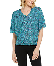 JM Collection Petite Dot-Print Overlay Top, Created for Macy's