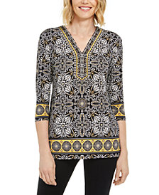 JM Collection Petite Studded Geometric-Print Top, Created for Macy's