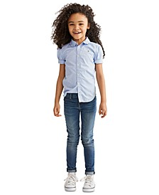 Little Girls Solid Oxford Top