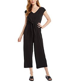 Tie-Front Cropped Jumpsuit