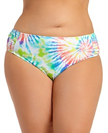 Trendy Plus Size Tie-Dye Ruched-Side Bikini Bottoms, Create For Macy's