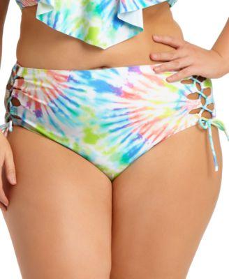 Size Tie-Dye High-Waist Bikini Bottoms, Created For Macy's