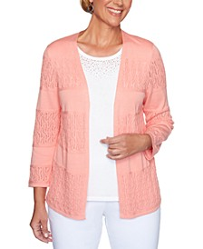 Petite Classics Pointelle Open-Front Cardigan