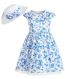 Toddler Girls 2-Pc. Straw Hat & Floral Dress Set