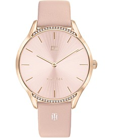 Women's Pink Leather Strap Watch 36mm, Created for Macy's